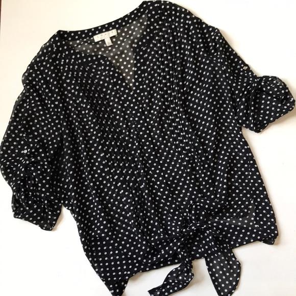 cc0a73bab9da61 Chaus Tops   Ny Sheer Polka Dot Tie Front Blouse Large   Poshmark